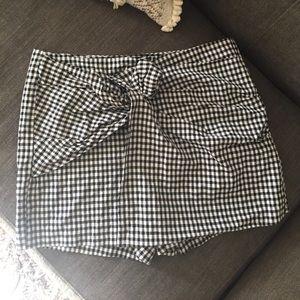 Zara gingham wrap front shorts